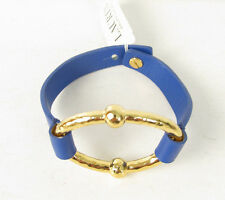NWT Ralph Lauren Sculptural Gold Oval Blue Leather Button Band  Bracelet $48
