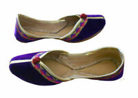 Women Shoes Indian Handmade Purple Leather Ballet Flat Jutties UK 3 EU 35.5