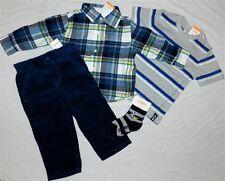 Gymboree Navy Pants Set Corduroy 5pc Flannel Shirt Boys sz 18-24 month New
