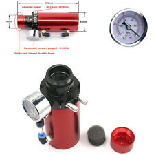Auto Car Red Engine Oil Reservoir Catch Can Tank+Vacuum Pressure Gauge Aluminum