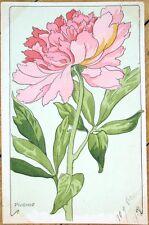 1903 Art Nouveau French Postcard - Pivoine/Peony Flowers - Color Litho