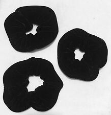 Women Extra Large Black Velvet Hair Elastic Scrunchie Pack Of 3