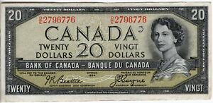 Bank of Canada 1954 $20 Twenty Dollars Devil's Face Portrait Beattie-Coyne VF++