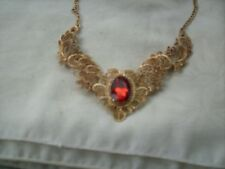 Costume jewerly Necklace metal filagree red stone & rhinestones