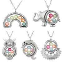 Elephant Living Memory Floating Locket Pendant Pearl Cage Glass Locket Necklace