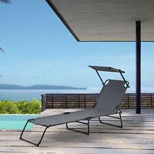 [casa.pro] Tumbona plegable 190cm gris oscuro con techo acero Playa Jardín