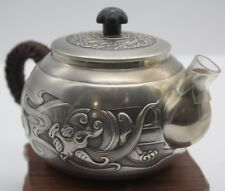 999 Sterling Silver Art Full Handmade in Block Teapot Dragon Pattern Healthy