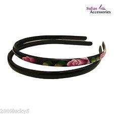 2 BLACK Painted Flower Alice Band Hair Head Headband Tooth Slim Plastic Girl xx