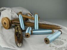 LOT x5 Mercerie Ancienne Bobines Rouet en Bois Fil de Soie BLEU Couture Vintage