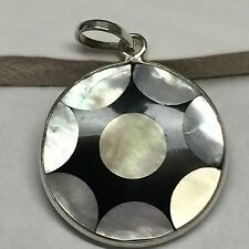 Genuine Rainbow Abalone Shell 925 Solid Sterling Silver Pendant 35mm