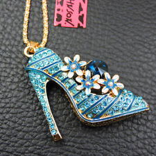 High-heeled Shoe Pendant Necklace Chain Betsey Johnson Blue Crystal Flower