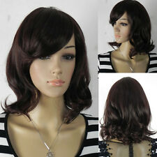 Medium Shoulder Length Wavy Waves Straight Ramp Bangs Dark brown Hair Full Wig