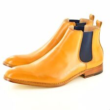 Mens Italian Style Leather Lined Chelsea Ankle Pointed Toe Boots UK Sizes 7-12