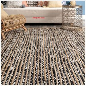Indian Rug Jute & Cotton Reversible Handmade Braided Style Rug Rustic Look Rug