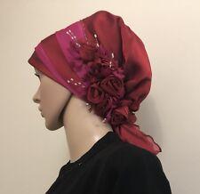 Fancy Hijab Bonnet Scarf Tichel Lady Turban Chemo Style Party Hat Dark Red
