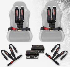 "STV Motorsports Seat Belt Safety Harness Black 4 Point 3"" RZR 4 Wheeler (Pair)"