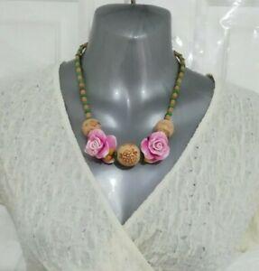 ❤ rosa braun Holz Blumen Perlen Statement Halskette Modeschmuck nwots