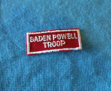 Vintage Rare Boy Scout BADEN POWELL TROOP Patch Red Rectangle