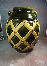 Large Italian Hand Painted Pottery Vase Hand Made in Italy tall 11.5""