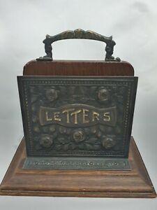 Vintage Antique Desk Letters Rack Holder Mail Stand Wood Metal Floral