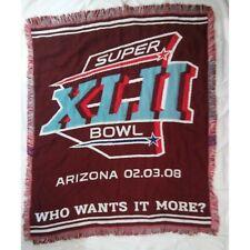 "NFL Super Bowl XLII Arizona Throw Blanket Tapestry Northwest Company USA 45""X50"""
