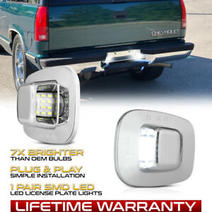 """""""CHROME"""" LED License Plate Lights Tag Lamps For Chevy S10 Tahoe GMC Yukon Sonoma"""