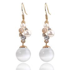 Gold Tone Opal Imitation stone Drop Ball Long Dangle Women Girl Bridal Earrings