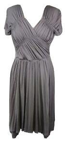 Max Mara Women's Silver Grey Stretch Wrap Midi Dress ITA 42 UK 10