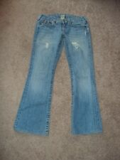 TRUE RELIGION WOMENS JEANS BOBBY SIZE 27 BOOT LIGH LOW RISE DISTRESSED
