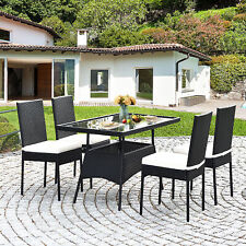 5PCS Patio Wicker Dining Set Outdoor Rattan Furniture Set w/ Cushion