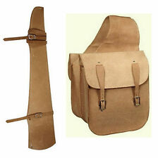 Western Trail Horse Natural Roughout Leather Saddle Bag Bags + Gun Scabbard