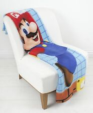 LARGE - NINTENDO SUPER MARIO FLEECE BED BLANKET SOFA THROW BOYS KIDS BEDROOM