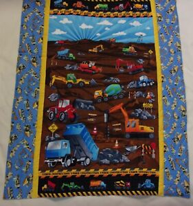 "Construction Vehicle Men At Work Child Baby Quilt 34""x42"" Homemade Cotton Fabric"