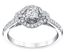 Diamond Halo Engagement Ring 0.97ct tcw White 18k Gold