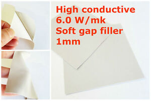 Thermal Silicone High Conductive Soft Pad 6 W/m.K 100*100*1mm Cooling Adhesive