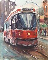 """Streetcar, Toronto"" Watercolor Painting Original  8"" X 10"" NOT A PRINT"