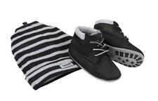 Timberland Kids Baby Black Crib BOOTIES Nubuck Lace up With Hat Warm Winter