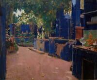Santiago Rusinol Blue Courtyard Arenys De Munt Poster Giclee Canvas Print