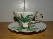 GORGEOUS MITTERTEICH BAVARIA GERMANY LILY OF THE VALLEY DEMITASSE CUP & SAUCER