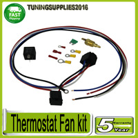 Electric Cooling Thermostat Fan Sensor Temperature Switch Wiring Relay Kit 30Amp