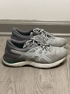 ASICS Womens Size 9 Running Shoes Gel Flux 5 Grey Green Workout Athletic Mesh
