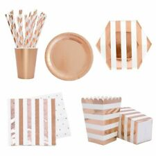 Tableware Party Paper Cups Plates Straws Set Rose Gold Disposable Table Supplies