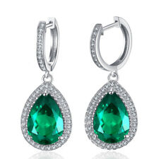 925 Sterling Silver Green Quartz CZ Women Jewelry Engagement Drop Earrings SE035