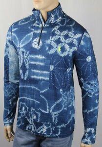 Ralph Lauren Performance Blue Tie Dye Lightweight Half Zip Sweater NWT