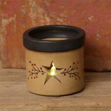 Primitive Star Crock with Cut-Out Star and Red Berry Vine Candle Holder