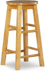 Wooden Bar Stool With Round Seat For Kitchen Natural Wood Finish Furniture 24 In
