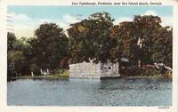 Postcard Fort Oglethorpe Frederica near Sea Island Beach Georgia