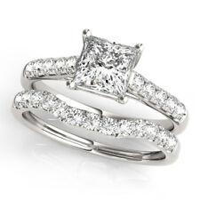 1.50 Ct Princess Cut Diamond Wedding Ring Band Set 14K White Gold Size K L M N
