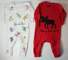 Hatley Lot of 2 Baby 3-6 Months Moose Trail Frog Long Pajamas