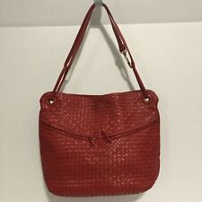 Louise Fontaine Bruxelles Vintage Red Leather Woven Zipper Handbag